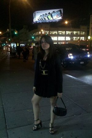 black H&M dress - black H&M jacket - yellow Forever 21 belt - black DIY belt - b