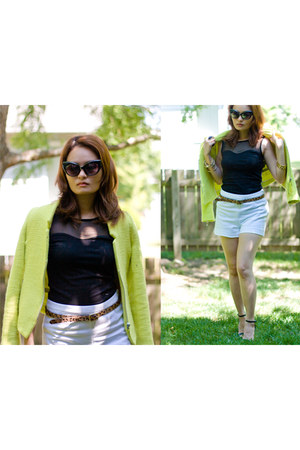light yellow structured Zara blazer - white H&amp;M shorts