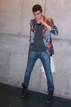 Custo blazer - MBMJ t-shirt - acne jeans - Pepe Jeans boots - dior homme glasses