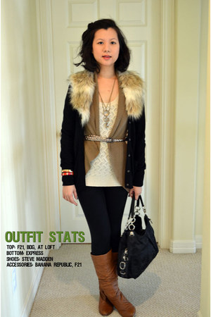 Ann Taylor Loft cardigan - BDG cardigan - candence boots Steve Madden boots