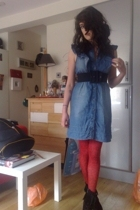 Miss Selfridge dress - belt - topshop tights - Jeffrey Campbell boots