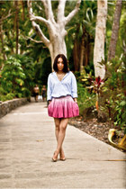 periwinkle boyfriends shirt - bubble gum sass & bide skirt