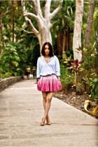 periwinkle boyfriends shirt - bubble gum sass & bide skirt