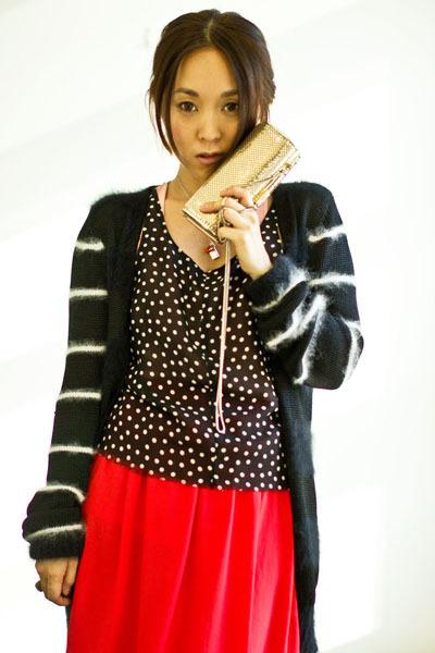 black balenciaga cardigan - gold Mimco bag - red Topshop skirt