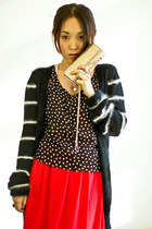 black balenciaga cardigan - gold Mimco bag - red Topshop skirt