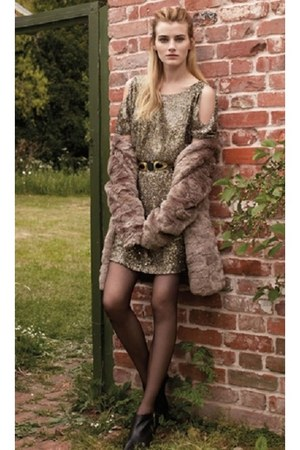 gold warehouse dress - faux fur warehouse coat