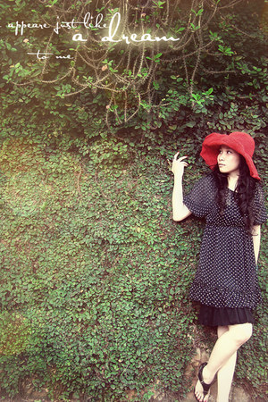 black dotted black dress - ruby red red hat - black black leather sandals