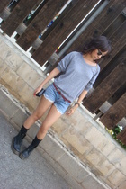 gray American Apparel sweater - black Doc Marten shoes