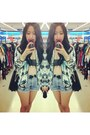 Sky-blue-hawaii-print-zara-jacket-blue-highwaisted-levis-shorts