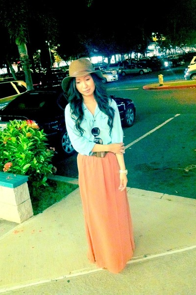 peach Forever21 skirt - light brown Forever21 hat - sky blue Levis top