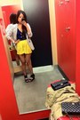 Black-stripes-black-and-white-blazer-yellow-high-wasited-forever-21-shorts-b