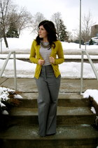 yellow Target sweater - striped J Crew shirt - gray Express pants - crystal Fore