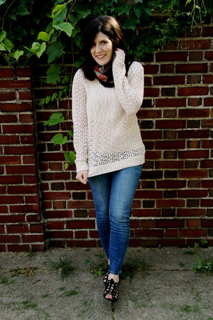 beige Urban Outfitters sweater - DSW shoes - Urban Outfitters jeans