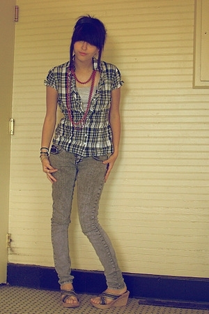Cotton Express shirt - DIY Halter top - Vanilla Star Skinny jeans - Borrowed fro