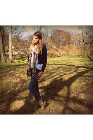 cashmere thrifted scarf - BC footwear boots - denim delias jeans