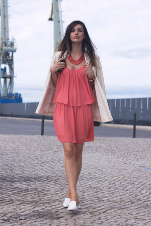 coral Zara dress - white Kookai blazer - white Zara flats