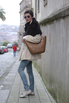 vintage coat - vintage scarf - Uterque sunglasses - Topshop loafers