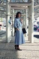 light blue vintage dress - black Chanel bag - black vintage pumps