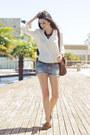 Brown-topshop-shoes-cream-h-m-shirt-sky-blue-denim-zara-shorts