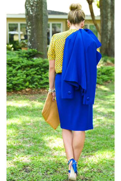 blue Givenchy blazer - camel American Apparel bag - yellow Topshop blouse - blue