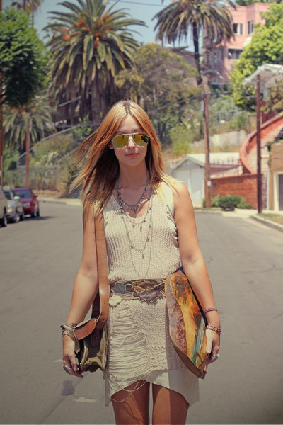 vintage dress - shredded tank Wasteland top - vintage belt