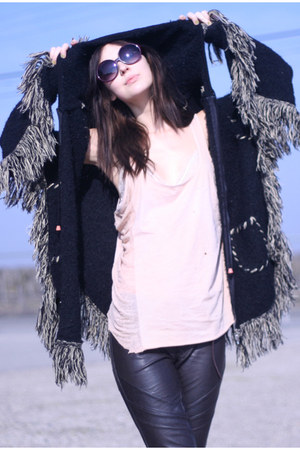 fringe hooded Wasteland jacket - 80s Purple sunglasses - pleather UO pants - shr