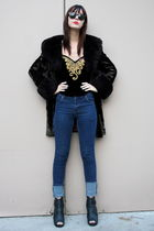 vintage top - Cheap Monday jeans - vintage coat