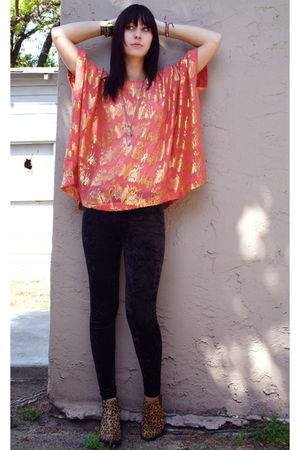 H&M blouse - cheetah print Jeffrey Campbell boots - velvet H&M leggings
