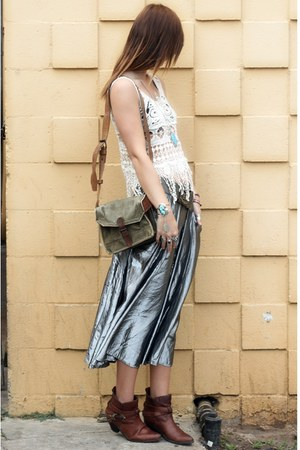 vintage boots - army vintage bag - metallic silver vintage skirt - open knit Pop