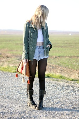 vintage bag - army Urban Outfitters jacket - diy vintage shorts