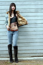 vintage jacket - Hand Made top - Chinese Laundry boots - Forever 21 jeans