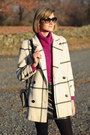 White-plaid-vintage-coat-magenta-cowl-neck-vintage-sweater
