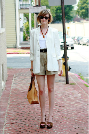 white ann taylor blazer - white Aqua top - beige vintage shorts - black Urban Ou