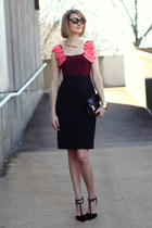 black mini Sophie Hulme bag - maroon ruffles Jay Godfrey dress