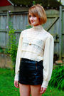 White-vintage-blouse-black-topshop-shorts-black-givenchy-shoes-gold-vintag