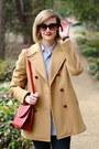 Red-mini-romwe-bag-camel-brooks-brothers-coat-navy-skinny-h-m-jeans