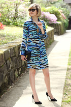 gold statement Adia Kibur necklace - aquamarine shirtdress Tucker dress