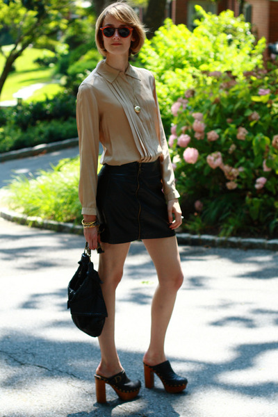 beige Joseph Picone blouse - black Urban Outfitters skirt - gold vintage necklac