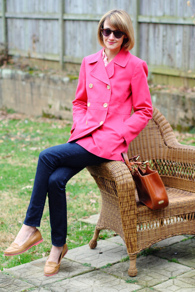 double-breasted ann taylor coat - skinny jeans H&M jeans - tote Bally bag