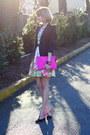 Black-tailored-zara-blazer-white-floral-zara-dress-hot-pink-clutch-asos-bag