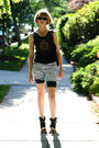 Black-vintage-sunglasses-black-junia-top-blue-diy-shorts-black-8020-shoes-