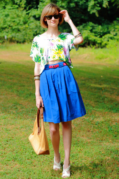 white Topshop top - pink J Crew belt - blue vintage skirt - white Nicole shoes -