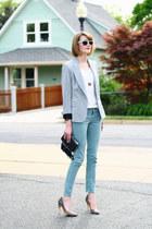 silver sparkle Zara blazer - aquamarine skinny jeans Zara jeans