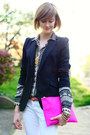 Hot-pink-clutch-asos-bag-white-skinny-mango-jeans-black-zara-blazer