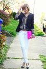 Hot-pink-clutch-asos-bag-white-skinny-mango-jeans-black-zara-blazer