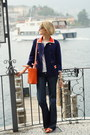 Navy-tailored-7fam-jeans-navy-orange-collar-vintage-blazer