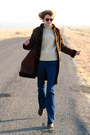 Dark-brown-vintage-coat-ivory-vintage-sweater-navy-j-brand-jeans-dark-brow