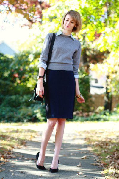 navy pencil skirt Zara skirt