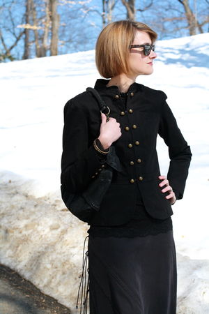 black La Redoute jacket - black Illig skirt - black Forever 21 top - black Herme