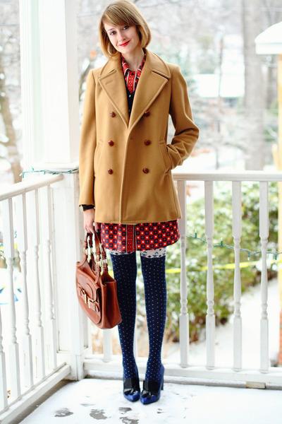 mustard vintage peacoat Brooks Brothers coat - red print Kate Hill dress
